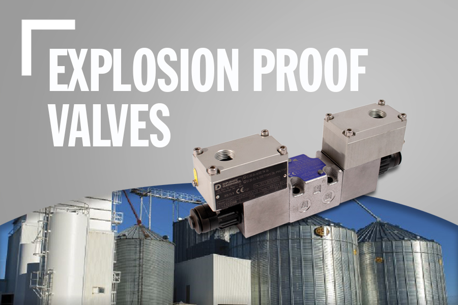 Explosion Proof Valves Banner With Product Image, Background Image, And Text