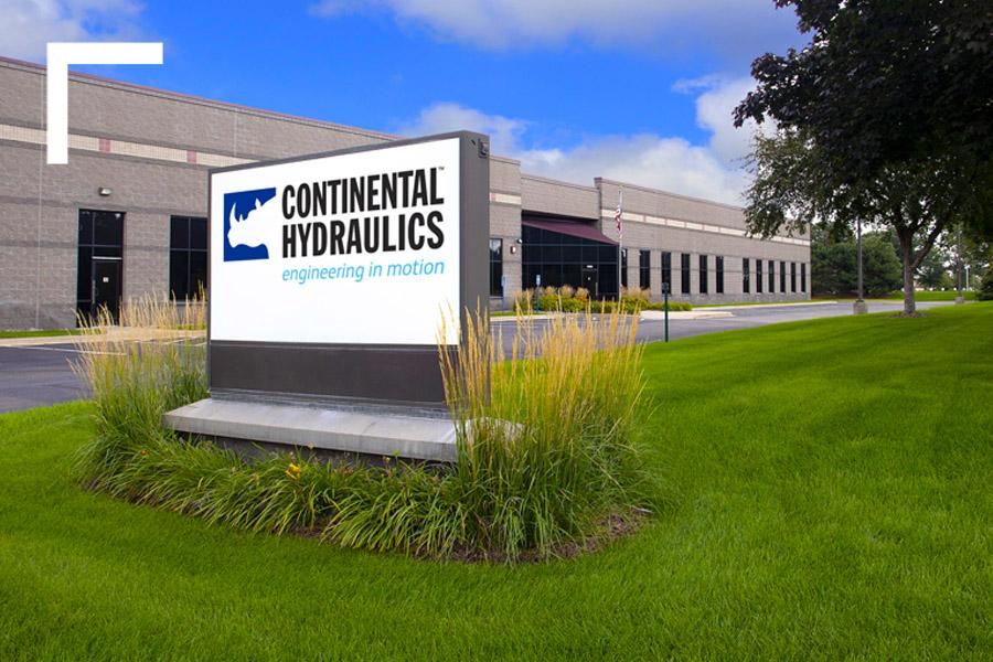Continental Hydraulics Brick And Mortar Facility With Logo On Billboard