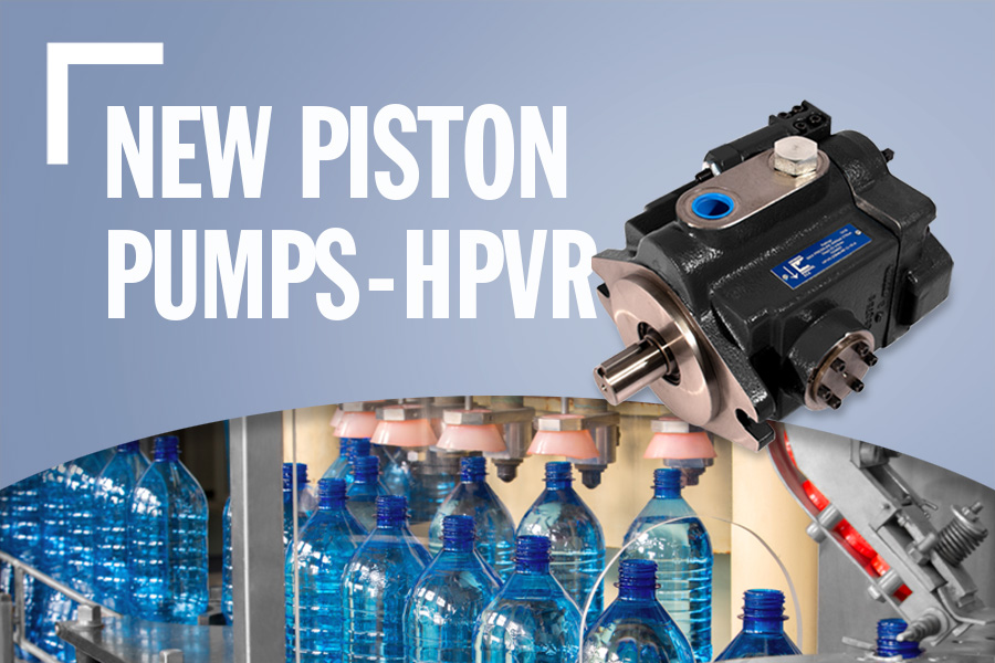 New Piston Pumps HPVR With Product Image, Background Image, And Text