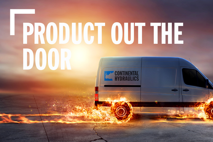 Product Out The Door Banner With Continental Service Vehicle With Animated Flaming Wheels