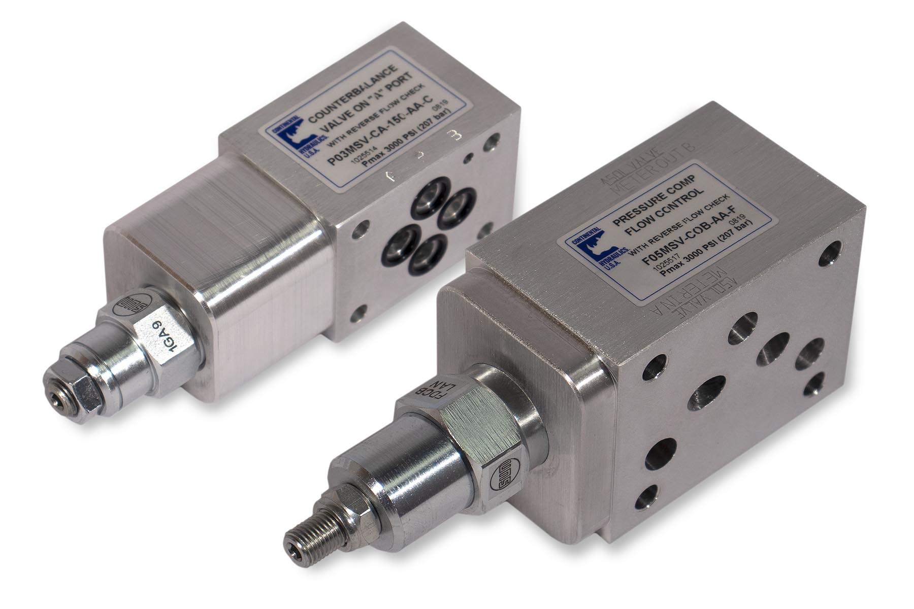 Aluminum Modular Stack Valves; white background