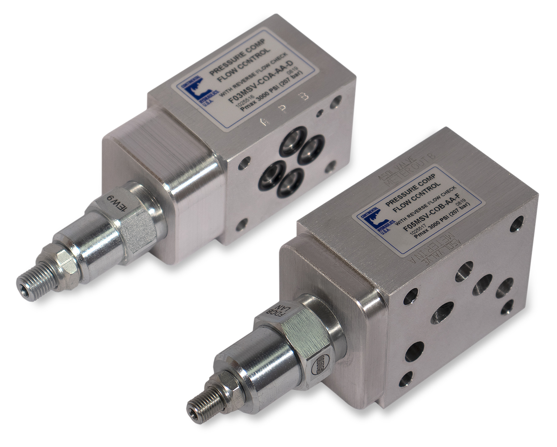 F03 and F05MSV-C flow control valves; white background