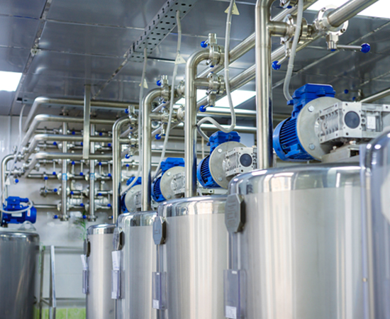 Steel vats and pipes used for chemical manufacturing