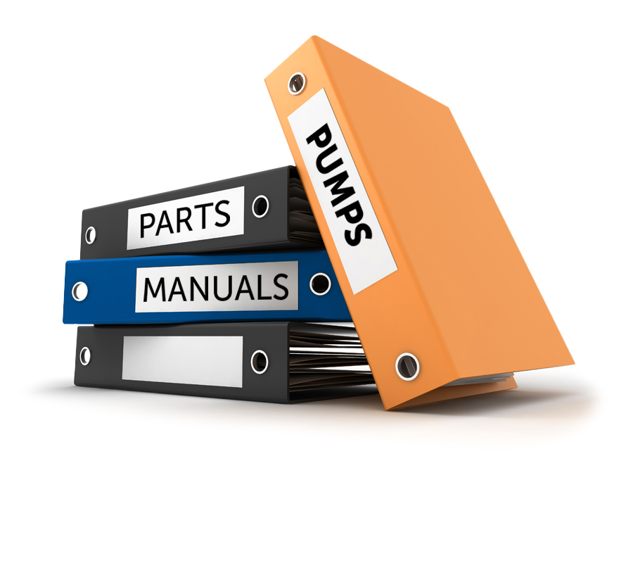 "4 stacked binders; ""parts"", ""manuals"", ""pumps""; white background"