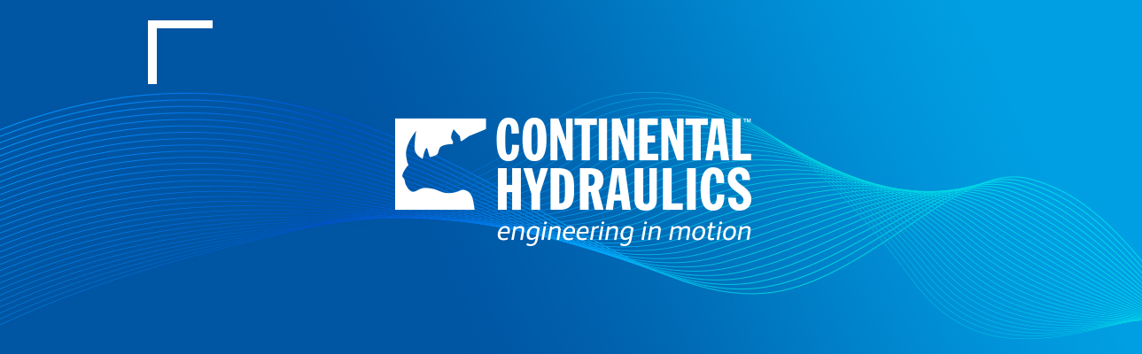 Continental hydraulics engineering in motion logo on blue patterned background