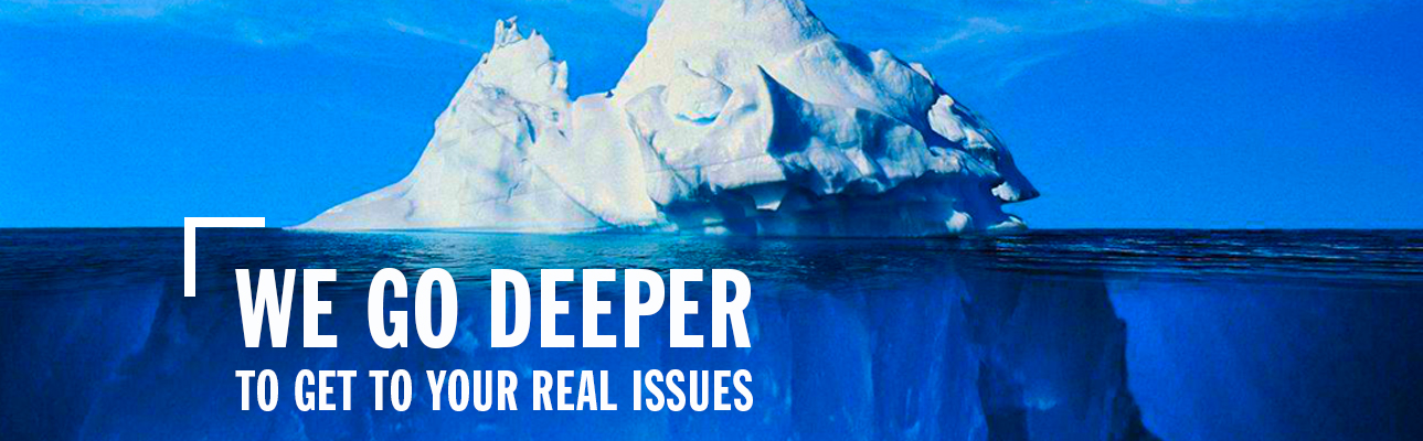 "Iceberg above and under water with ""we go deeper"" verbiage in foreground"