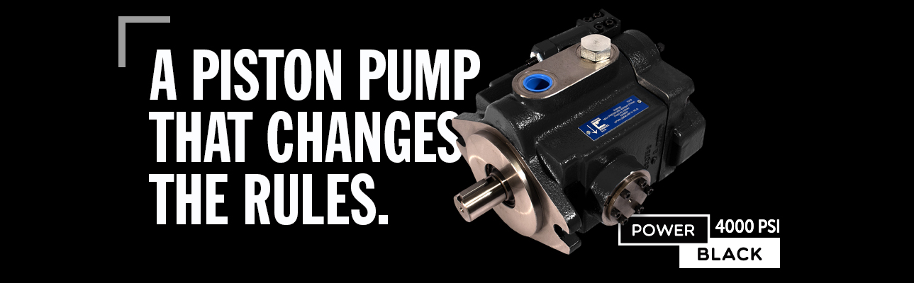 Piston pump product paired with text on black background