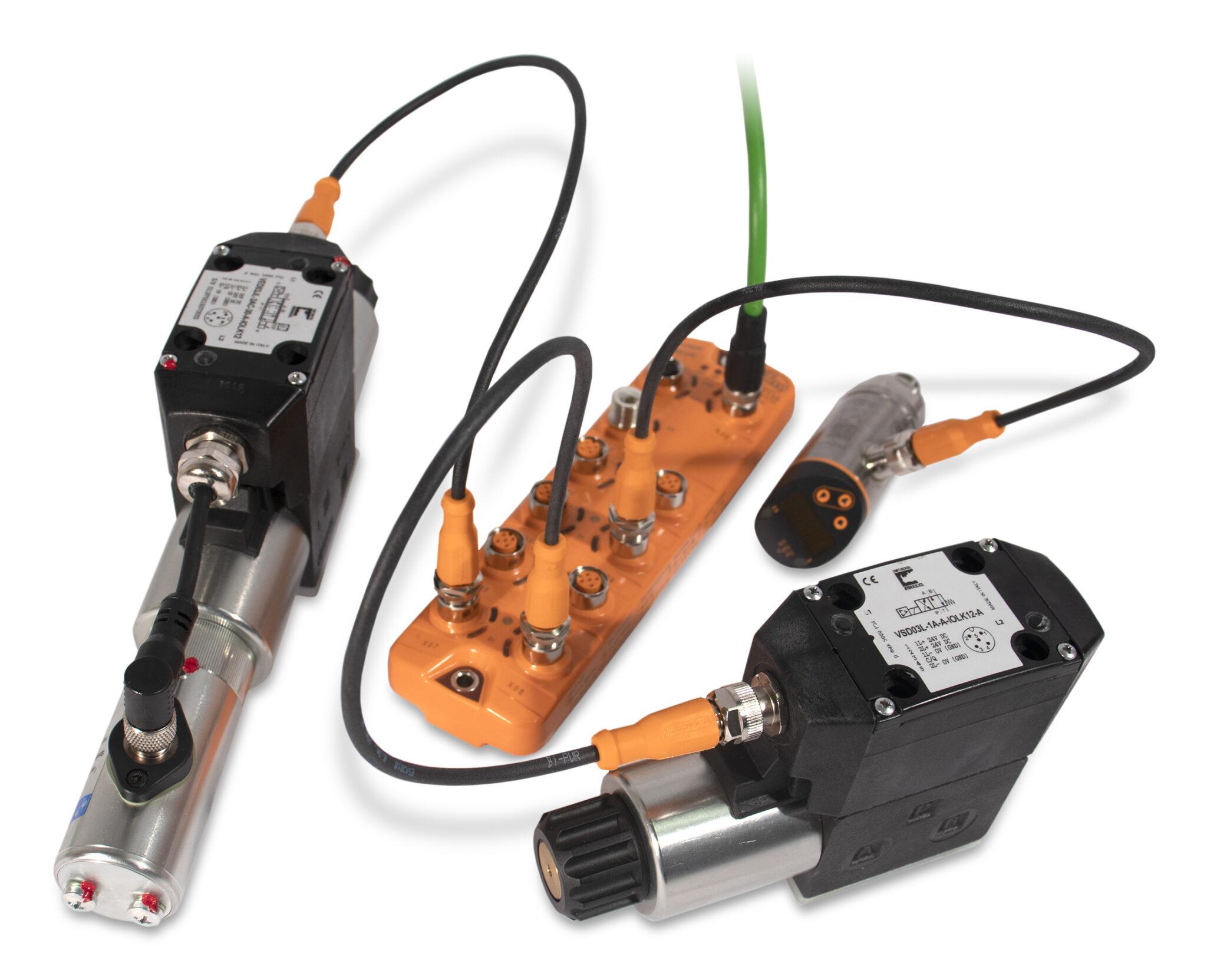 Io-Link product; orange; white background