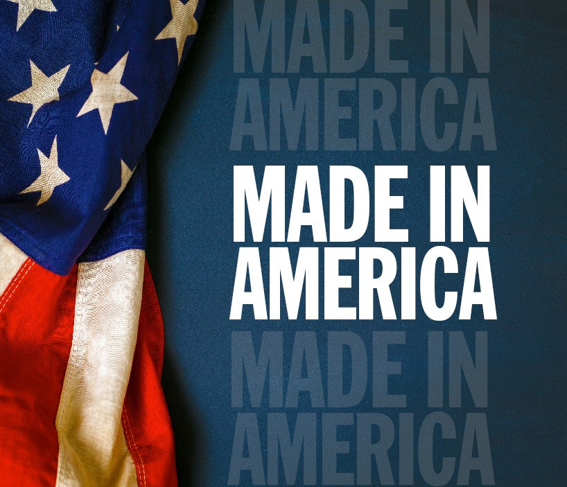 Made In America Logo With American Flag Draped Over Left Side