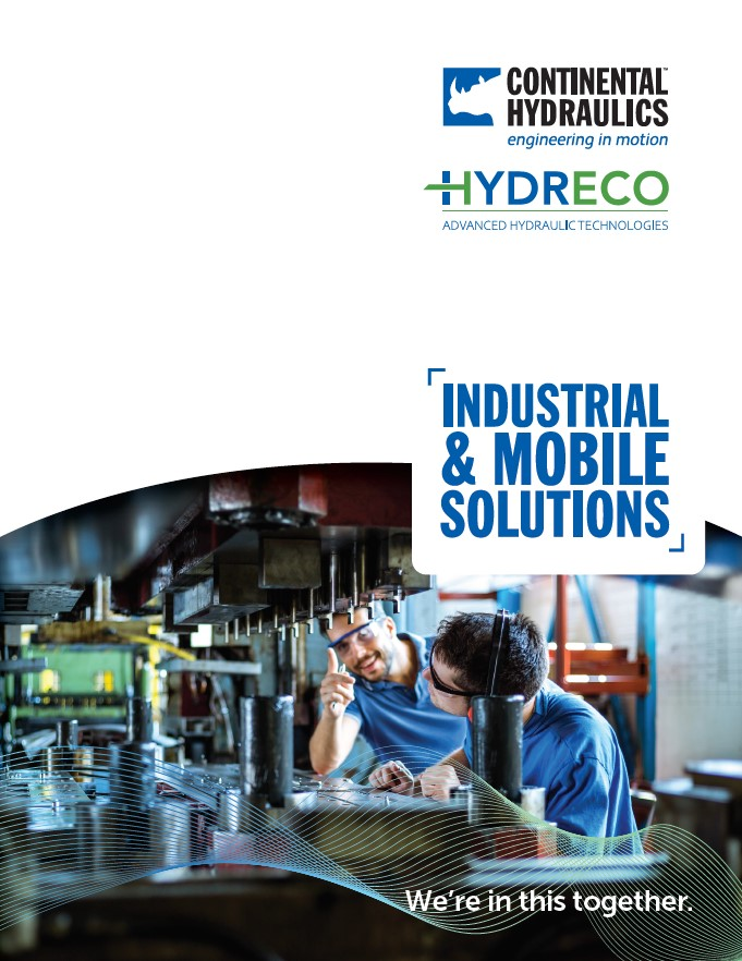 "Engineers working with machinery; Continental Hydraulics and Hydreco Logo; ""Industrial & Mobile Solutions"" text"