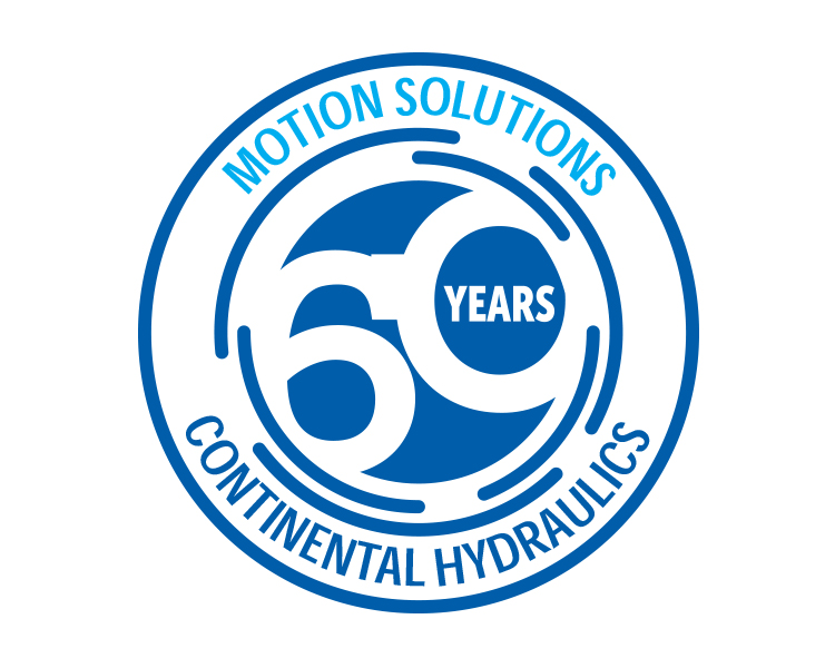 """60 years motion solutions"" badge for Continental Hydraulics"