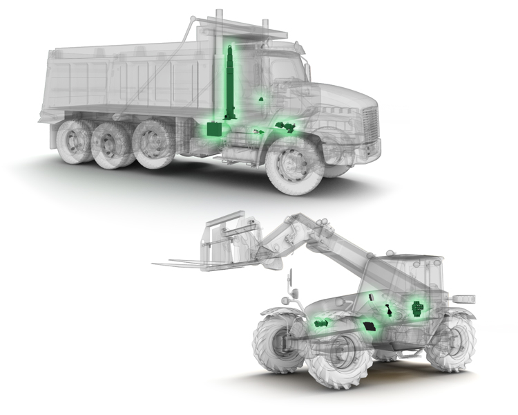 X-ray of heavy equipment showing (in green) where Continental Hydraulic's products are located
