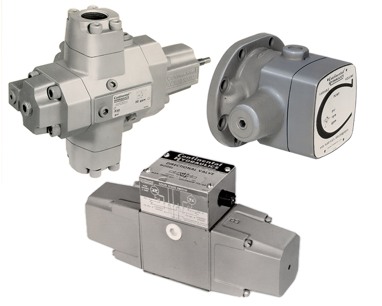 3 different directional valve products; white background