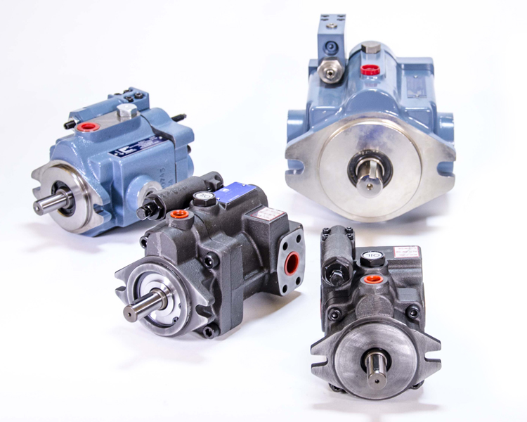 4 different types of pump products; white background