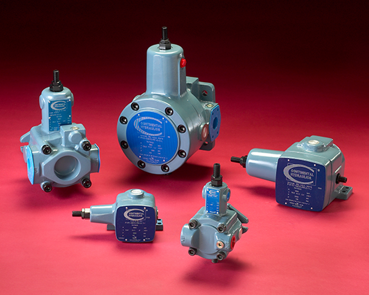 5 different types of vane pumps; red background