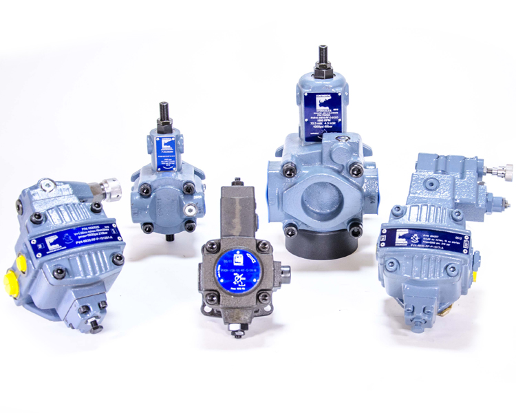 5 different Vane Pump products; white background